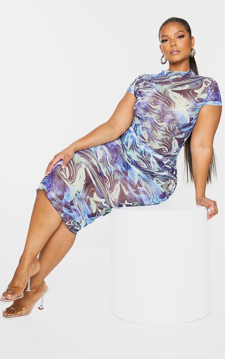 Plus Blue Marble Print Mesh Bodycon Midi Skirt 1