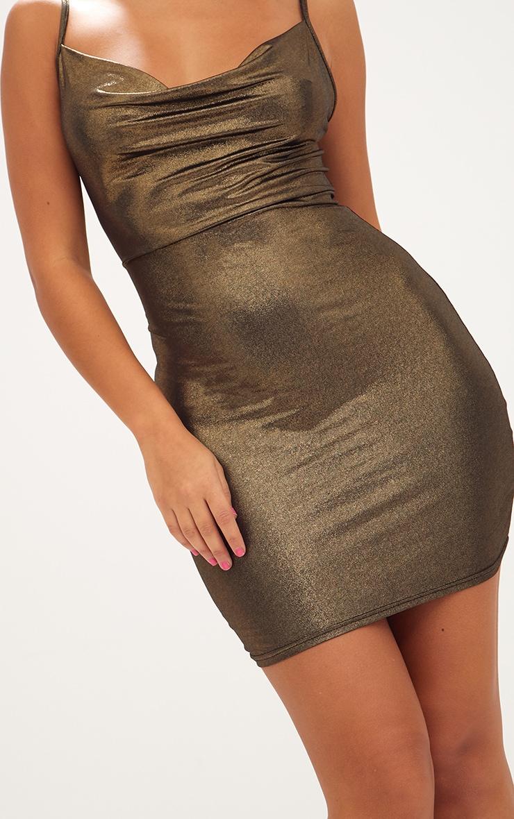 Gold Metallic Cowl Neck Bodycon Dress 5