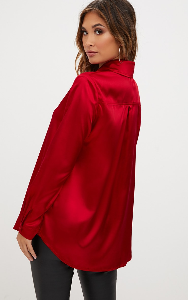 Red Satin Button Front Shirt 2
