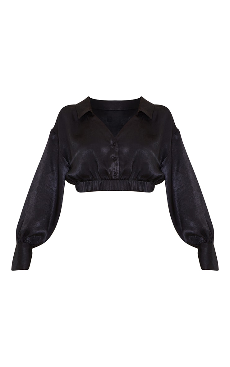 Black Satin Cropped Ruched Hem Shirt 5