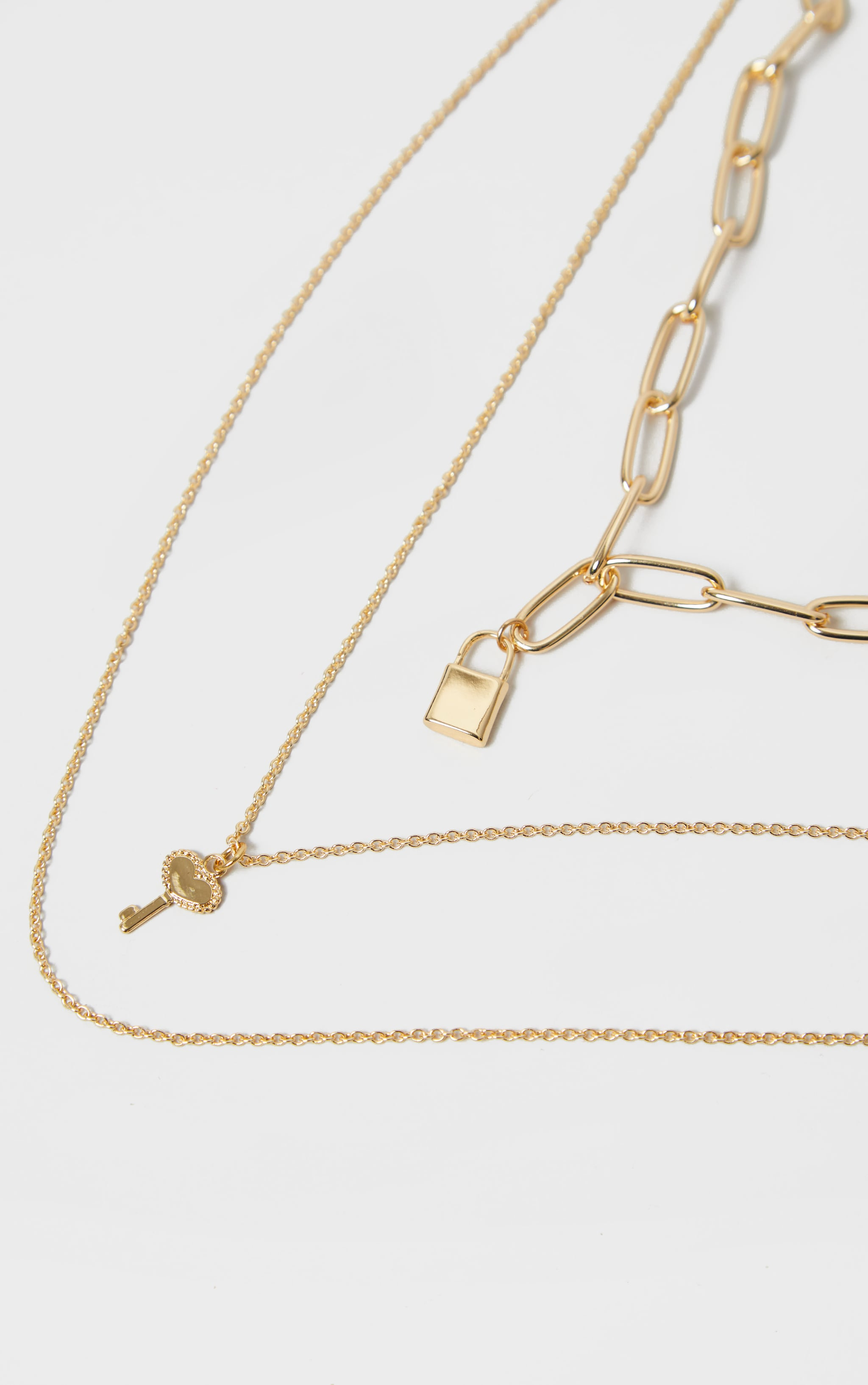 Gold Padlock And Key Link Triple Layering Necklace 3