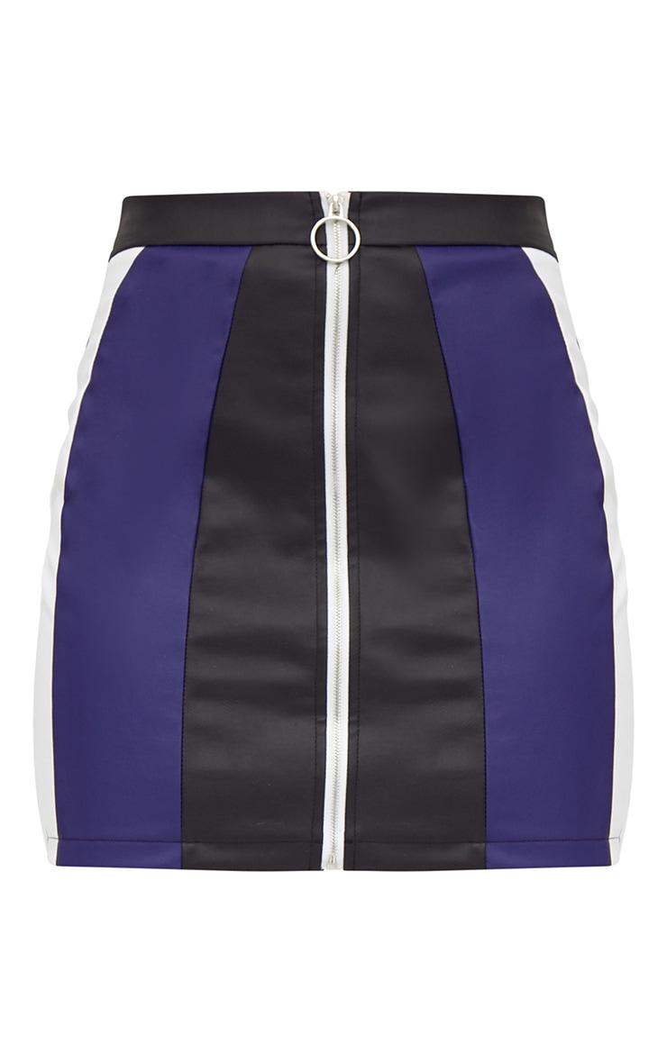 Black Faux Leather Motocross Zip Mini Skirt 3