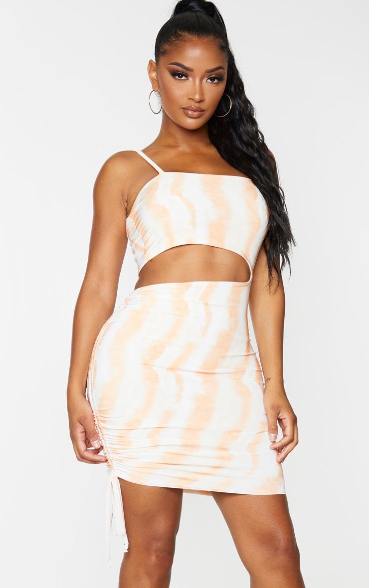 Shape Orange Tie Dye Slinky Cut Out Ruched Side Bodycon Dress 1