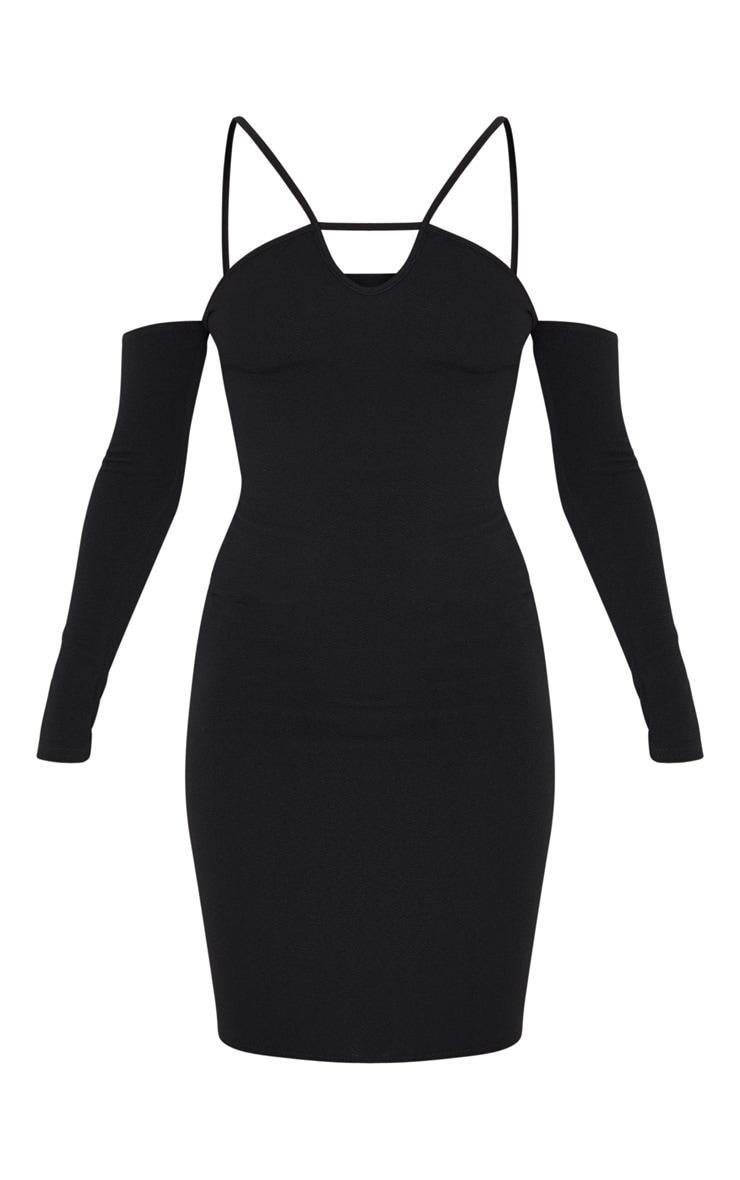 Black Strap Detail Bardot Keyhole Midi Dress 3