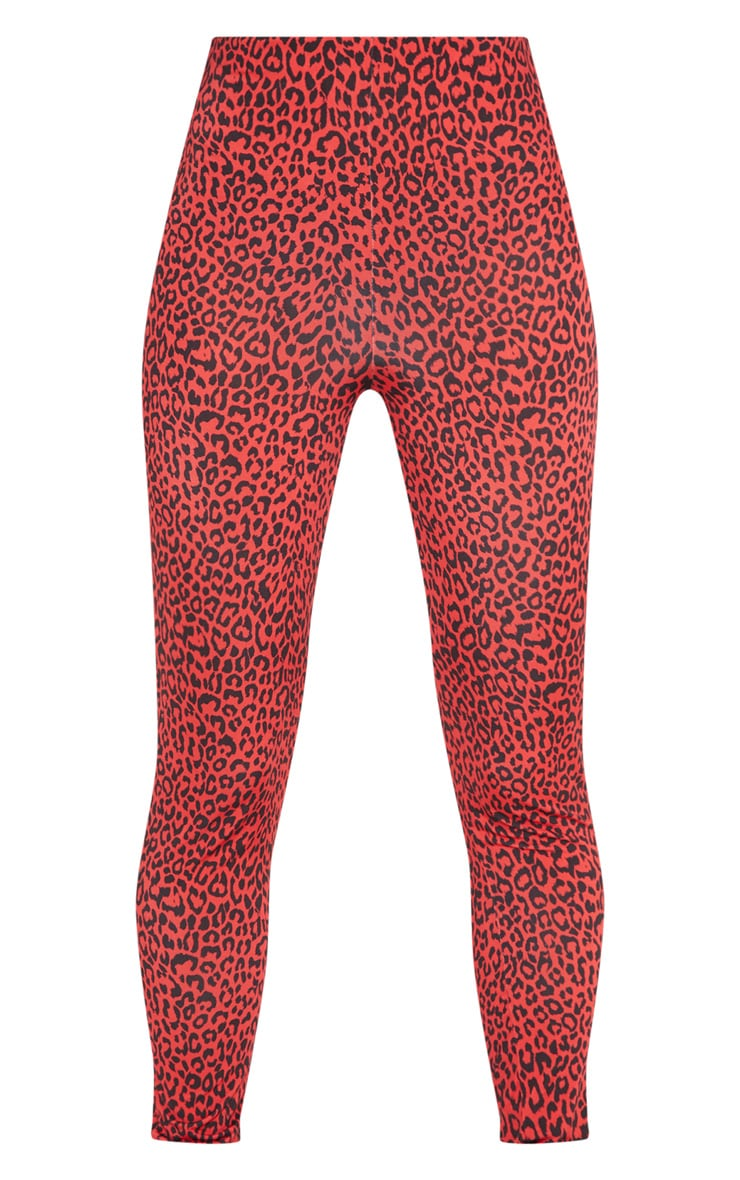 Red Leopard Print Soft Touch Legging 3