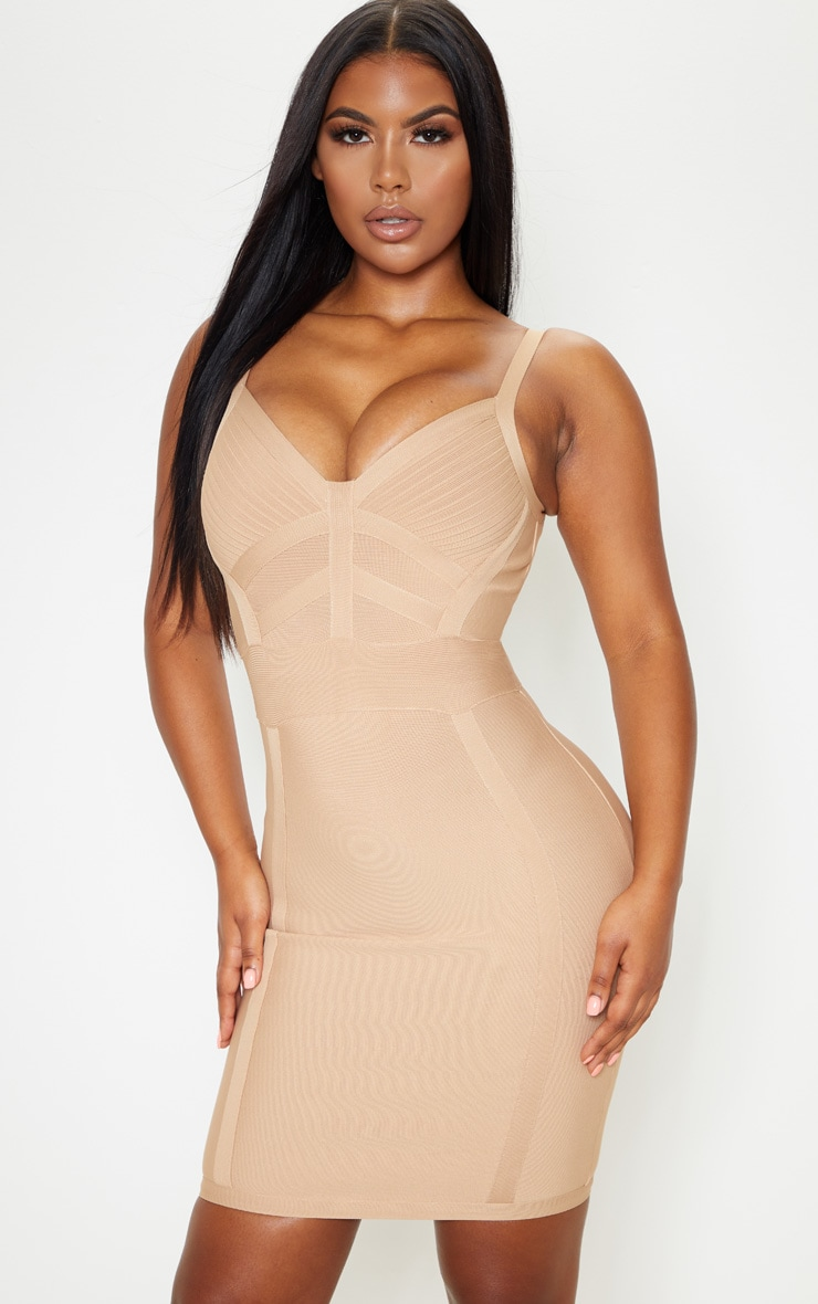 Champagne Nude Bandage Panelled Bodycon Dress 1