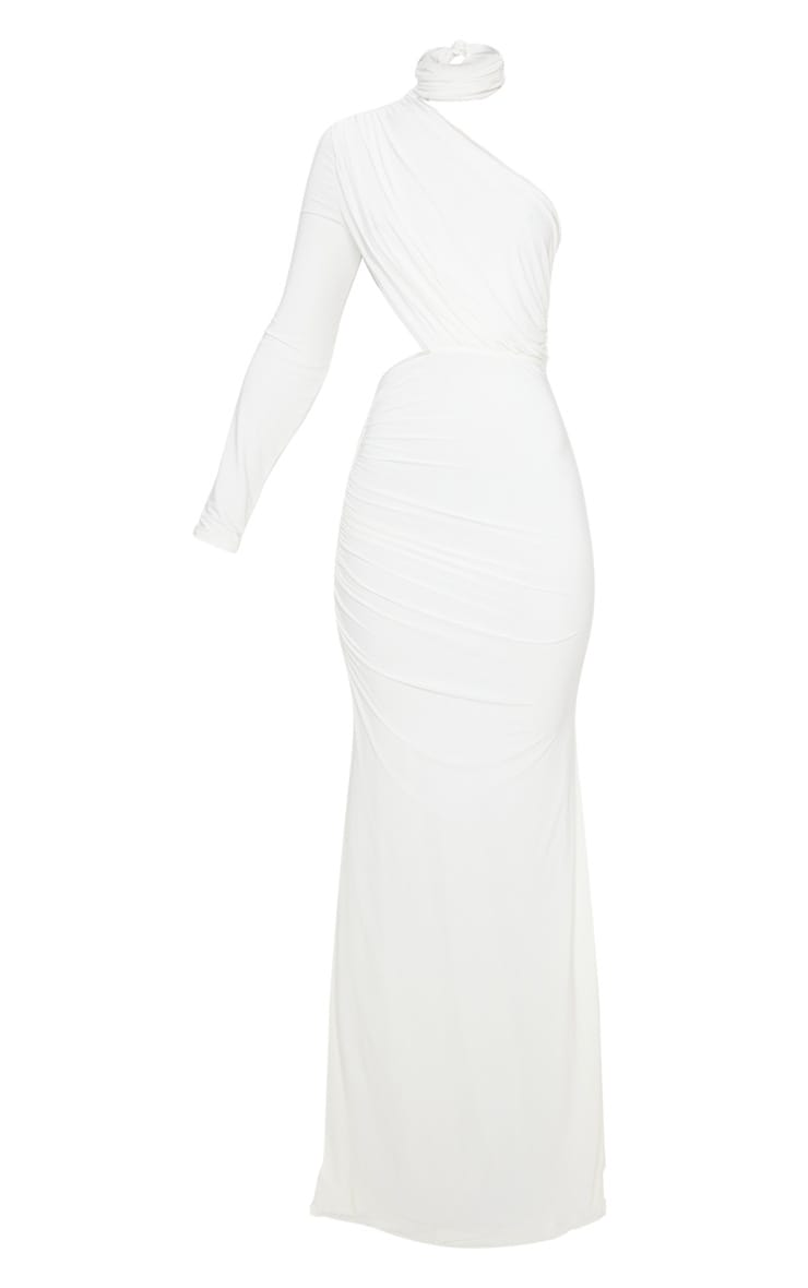 White Ruched One Shoulder Maxi Dress 3