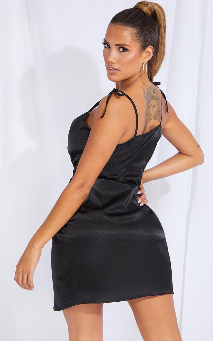 Shape Black Satin Tie Shoulder Wrap Bodycon Dress 2