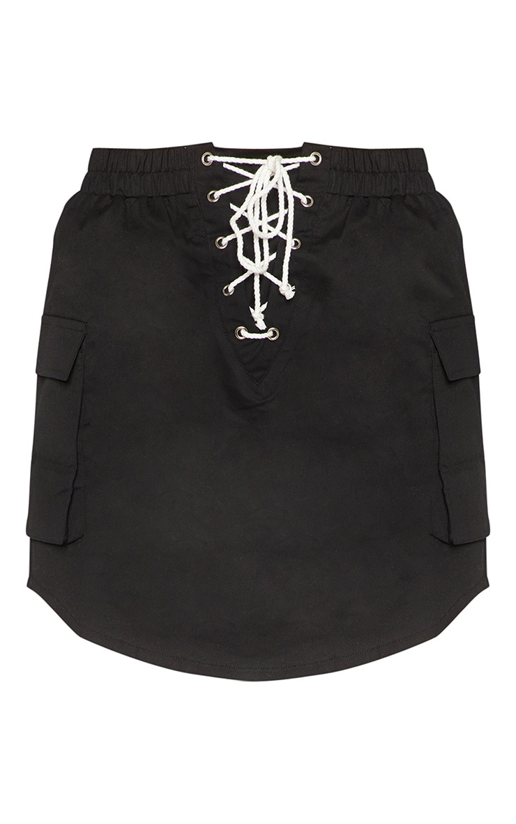 Black Lace Front Cargo Mini Skirt 3