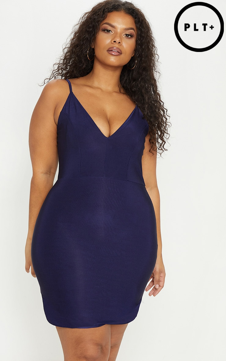 Plus Navy Slinky Plunge Strappy Bodycon Dress