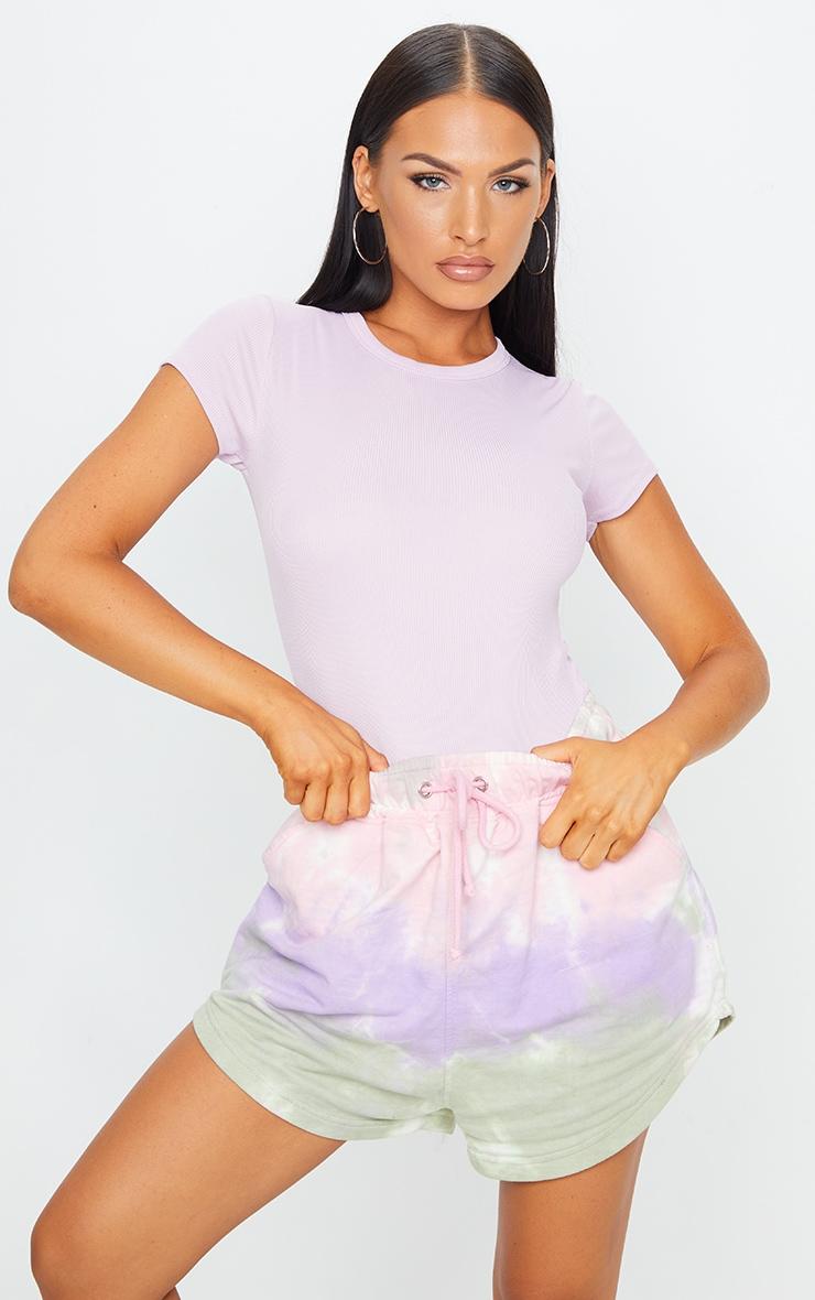 Lilac Short Sleeve Crew Neck Bodysuit 1