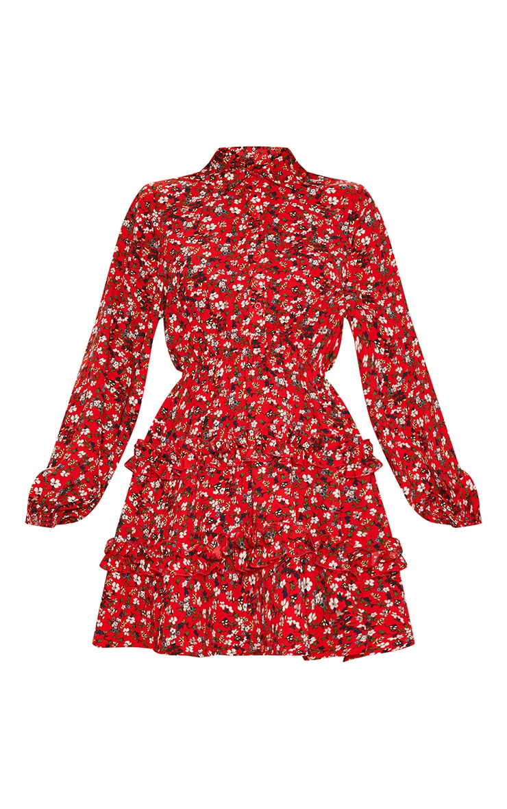 Red Floral Printed Frill Skater Shirt Dress 3