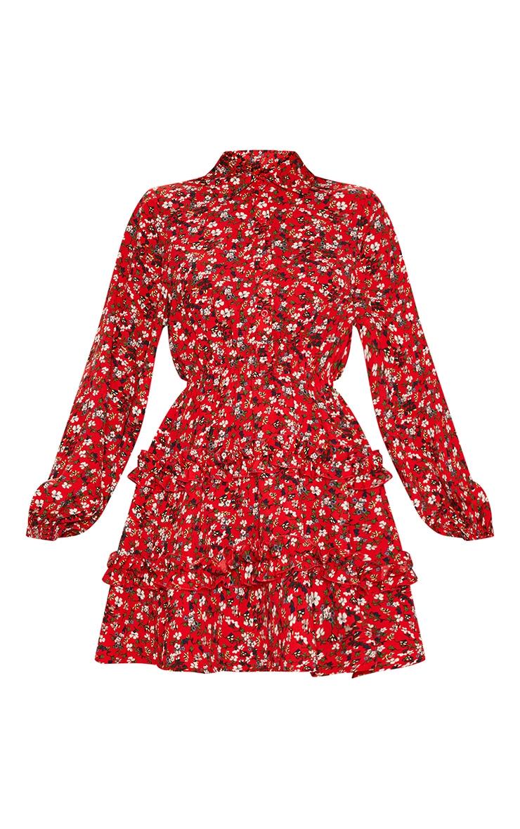 Red Floral Printed Frill Skater Shirt Dress 4