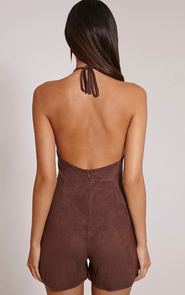 Stacy Chocolate Faux Suede Halterneck Playsuit 2