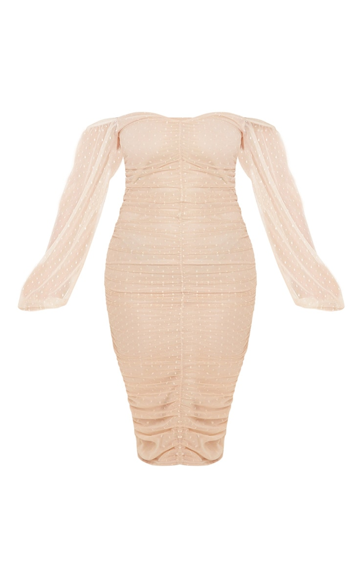 Stone Dobby Mesh Ruched Front Midi Dress 3