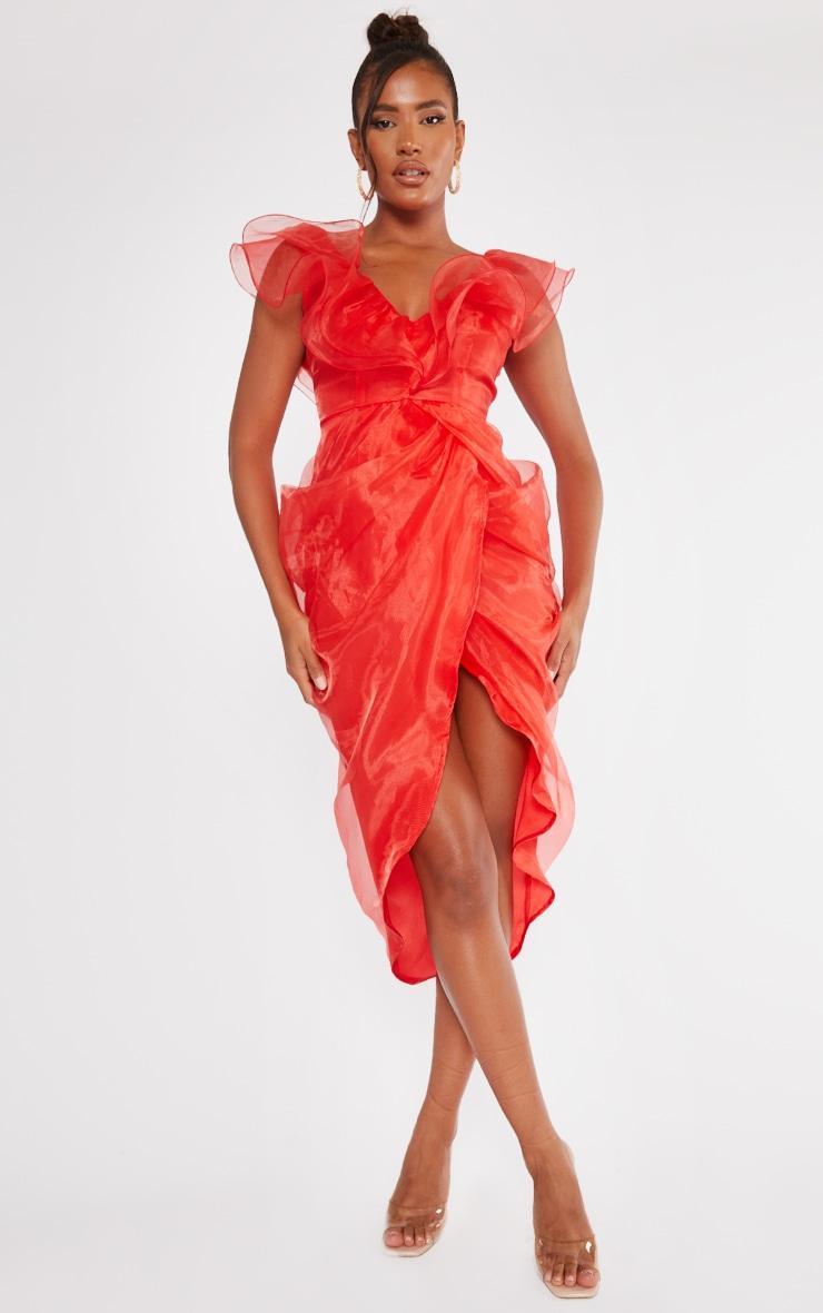 Red Organza Draped Frill Detail Midi Dress 3