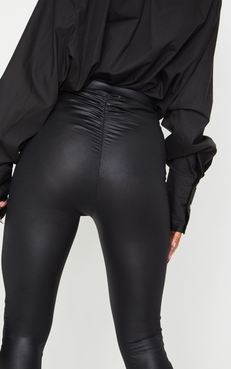 Black Ruched Bum Coated Leggings 4