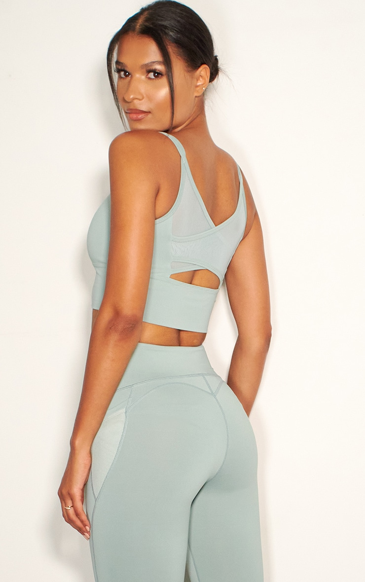 Sage Green Mesh Cross Back Long Padded Luxe Sports Bra 2