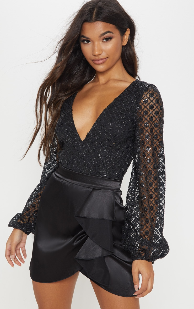 Black Plunge Glitter Volume Sleeve Bodysuit 1