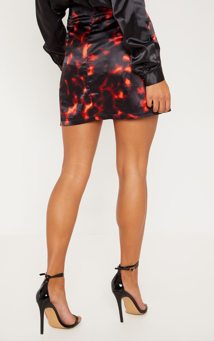 Tortoise Print A line Satin Mini Skirt 4