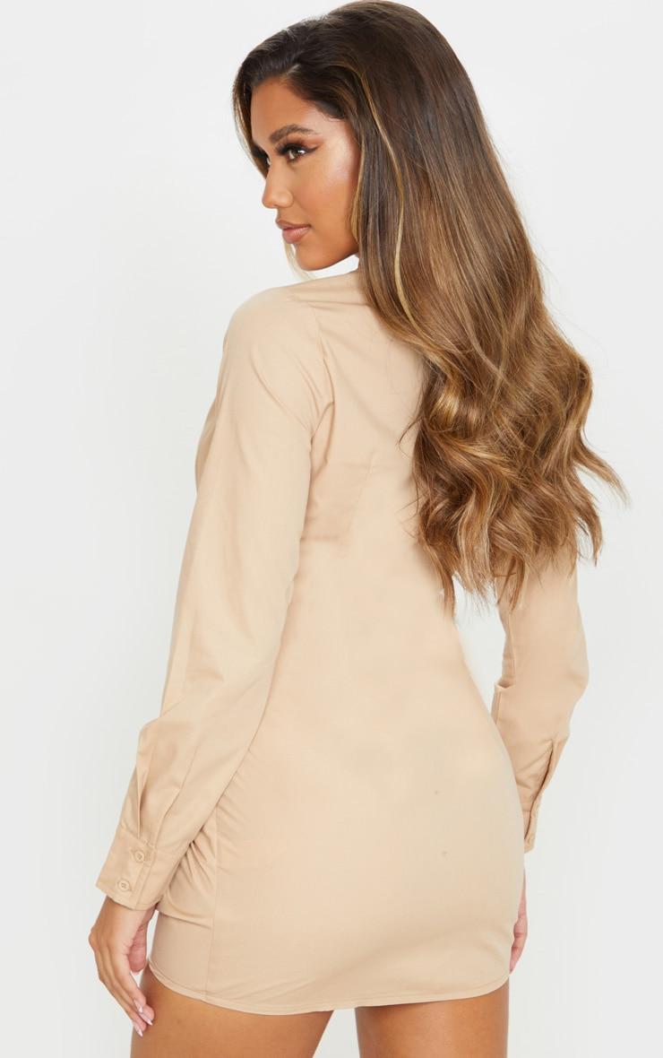 Stone Plunge Knot Detail Shirt Dress 2