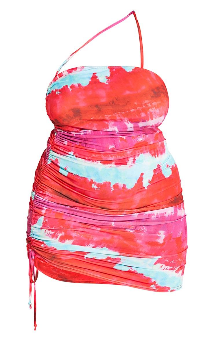 Plus Multi Printed Asymmetric Strap Ruched Bodycon Dress 6