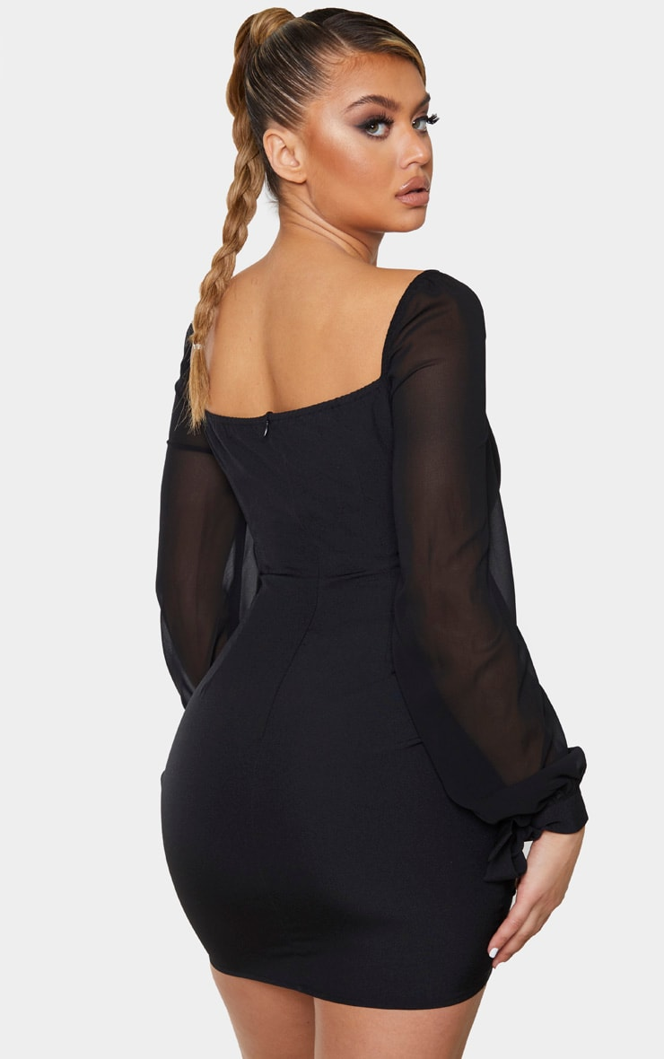 Black Chiffon Tie Sleeve Ruched Bodycon Dress 3
