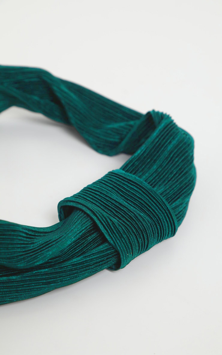 Green Pleated Wrap Headband 3