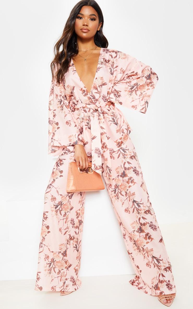 Pink Floral Belted Woven Blazer  3