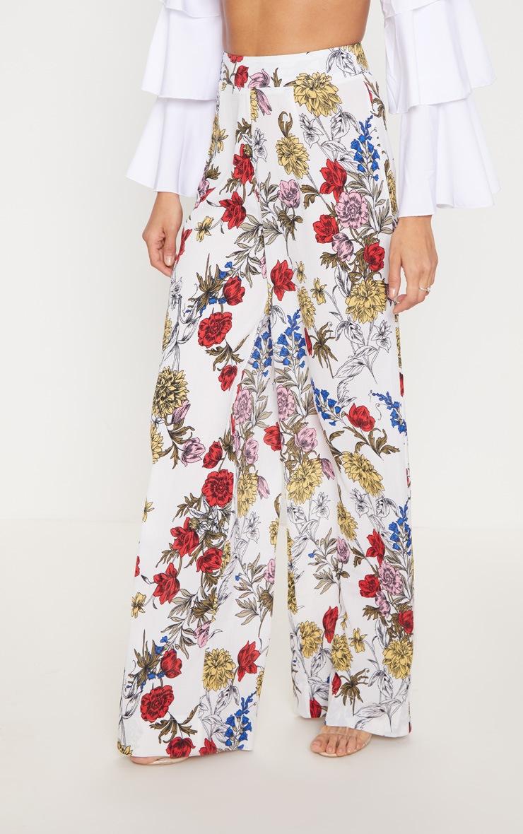 Pantalon ample blanc imprimé floral 2