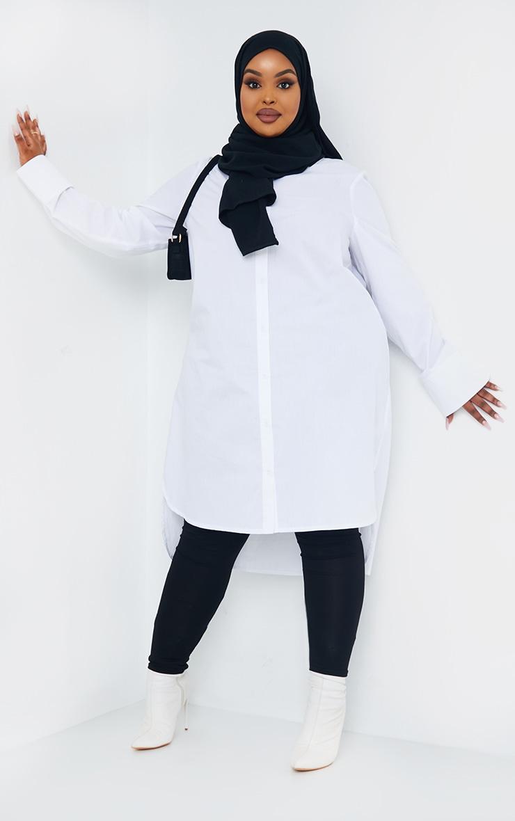 Plus White Split Hem Shirt Dress 1