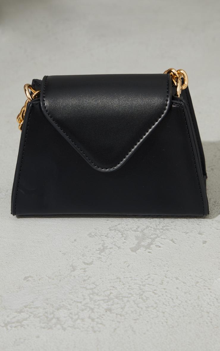 Black Mini Envelope Gold Chain Grab Bag 4