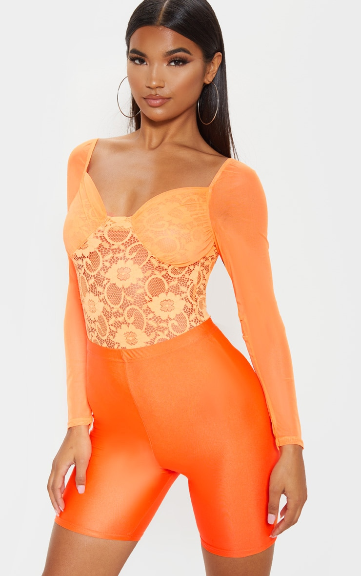Orange Chiffon Sleeve Lace Bodysuit 2
