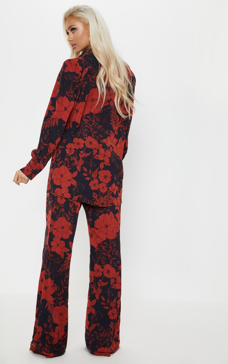 Red Floral Print Oversized Shirt 2