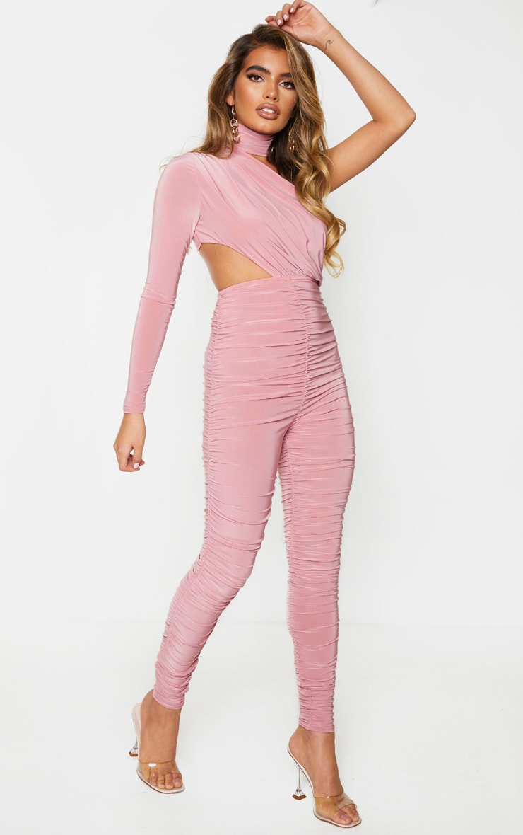 Baby Pink Ruched One Shoulder Jumpsuit 3