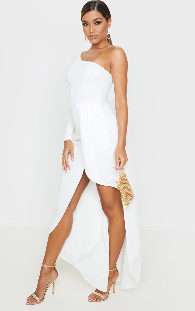 White One Shoulder Drape Skirt Maxi Dress 4