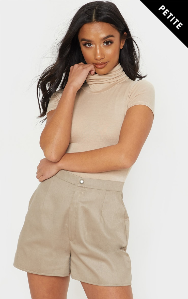Petite Stone Short Sleeve Basic Roll Neck Bodysuit 1