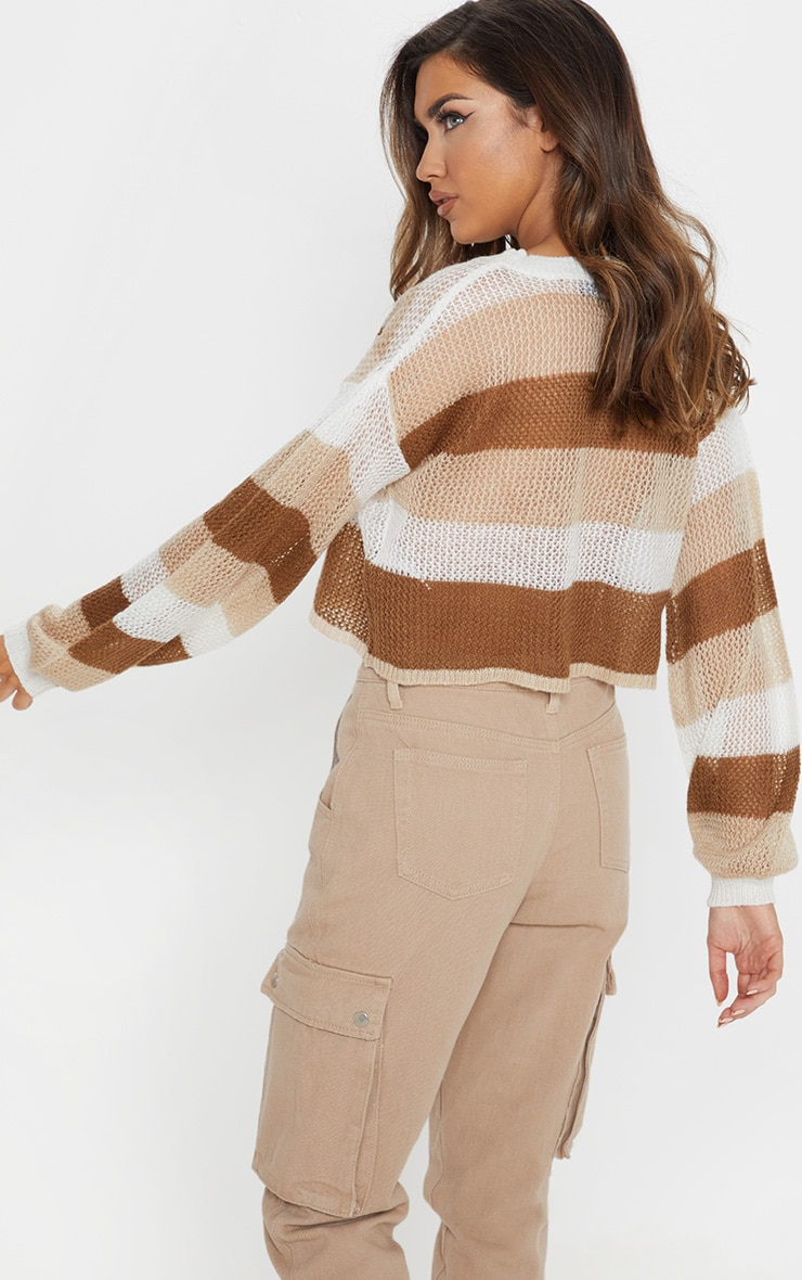 Cream Striped Knitted Cropped Laguna Jumper  2