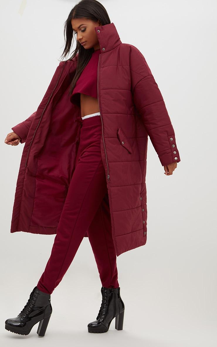 Premium Burgundy Longline Puffer Jacket 4