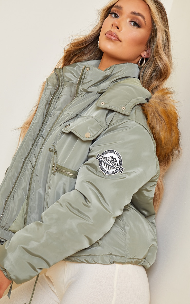 PRETTYLITTLETHING Khaki Cropped Removable Faux Fur Hooded Parka  4