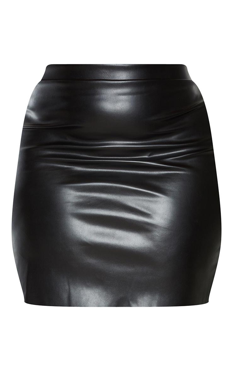 Plus Black Basic Faux Leather Mini Skirt 6