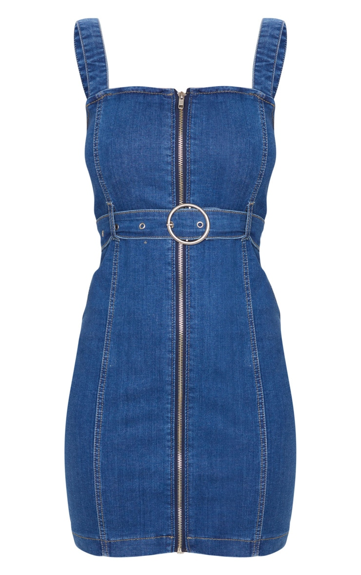 Dark Blue Wash Zip Up Belted Denim Mini Dress 5
