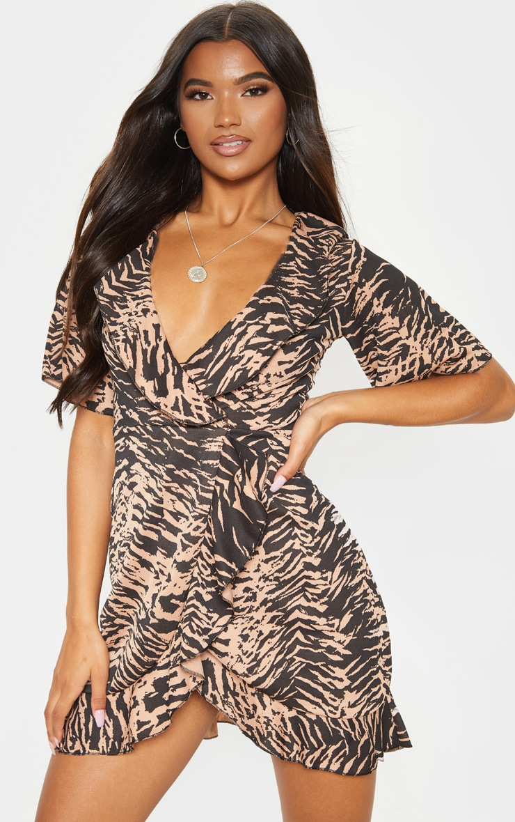 Camel Tiger Print Frill Detail Tea Dress 1
