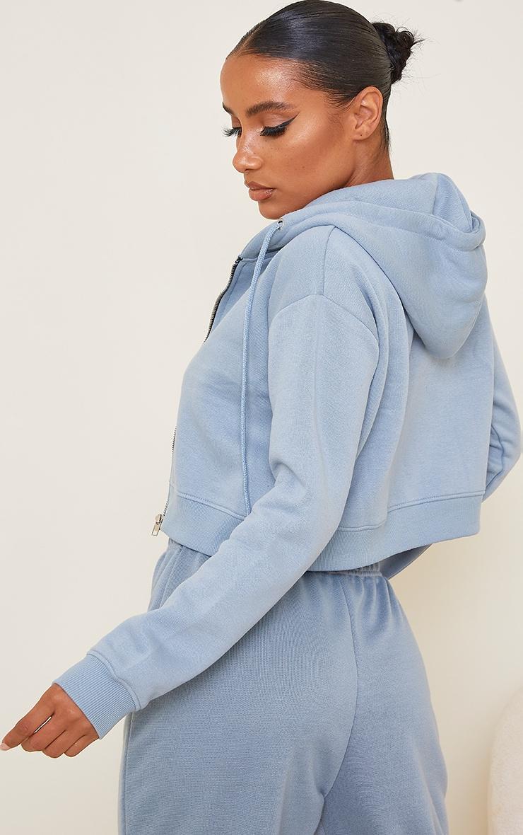 Blue Crop Zip Hoodie 2