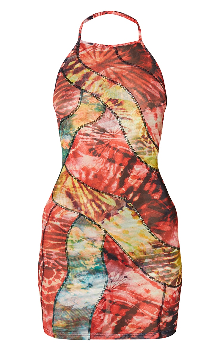 Red Abstract Print Mesh Overlock Stitch Halterneck Bodycon Dress 5