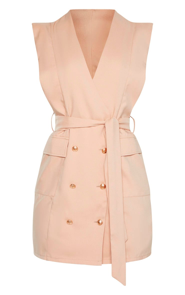 Nude Sleeveless Gold Button Detail Blazer Dress 3