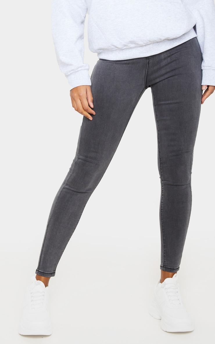 PRETTYLITTLETHING Grey Disco Skinny Jeans 2