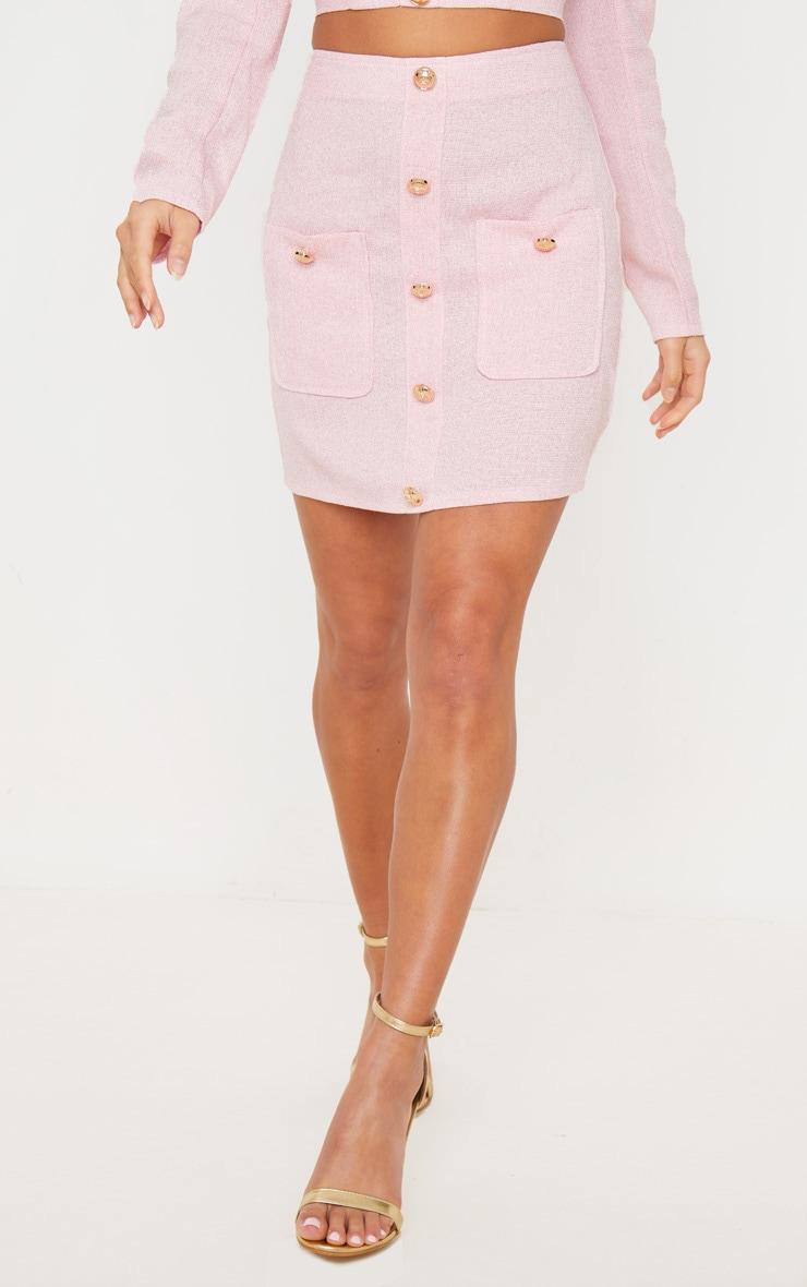 Petite Pink Tweed Button Detail Mini Skirt 2