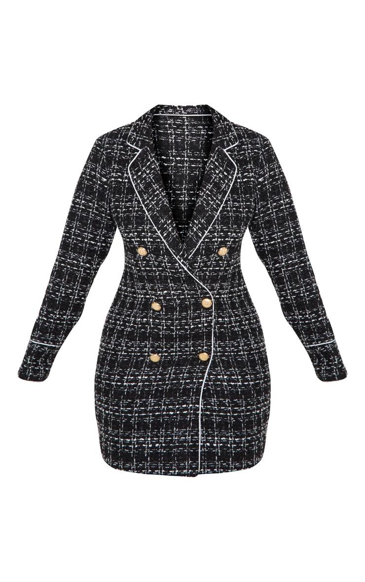 Black Boucle Gold Button Blazer Dress 3