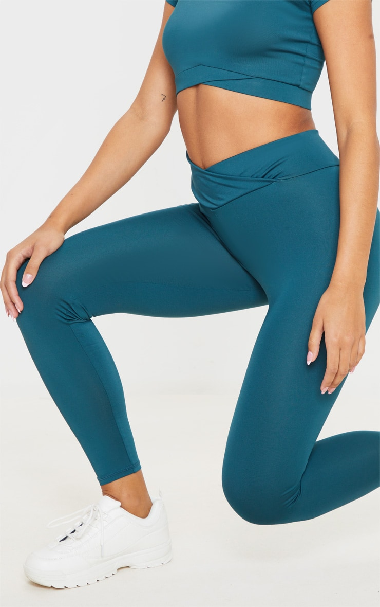 Emerald Green Mid Rise Gym Leggings 5